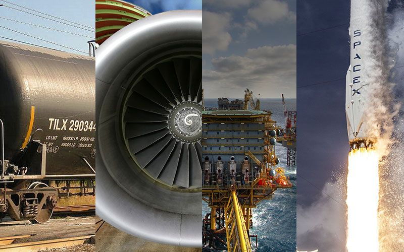 oil rig, jet engine, space x rocket, oil tanker rail car